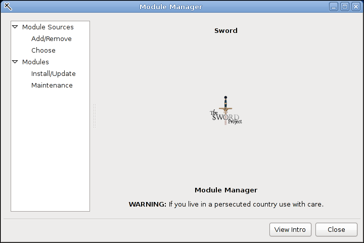The Module Manager Dialog