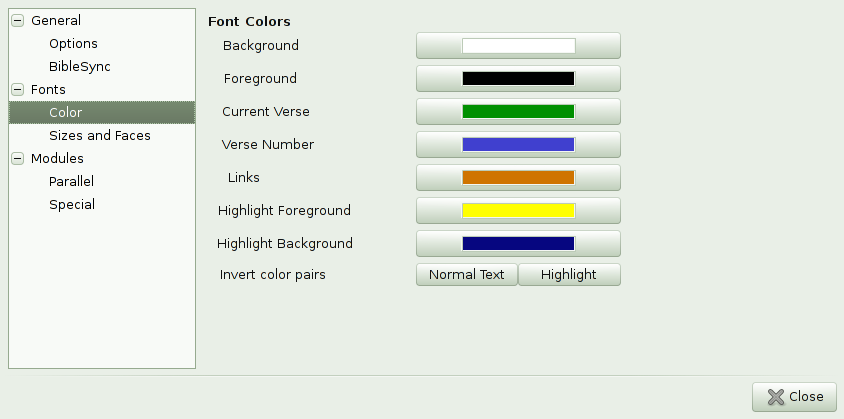 Font Colour Settings